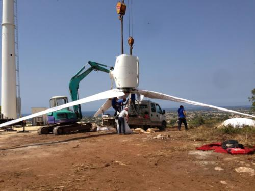 assemblaggio turbina eolica da 60kw
